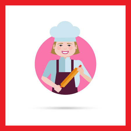 middle aged woman: Female character, portrait of smiling female chef