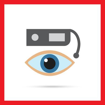 futuristic eye: Vector icon of smart glasses and human eye