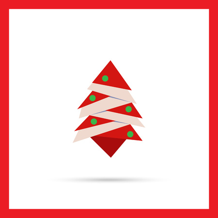 balls decorated: Vector icon of stylized red Christmas tree decorated with balls Illustration