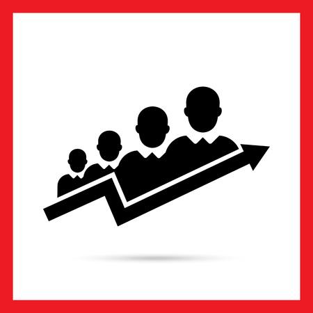 Vector icoon van teamwork succes concept vertegenwoordigd door zakenlieden silhouetten en groeiende pijl grafiek