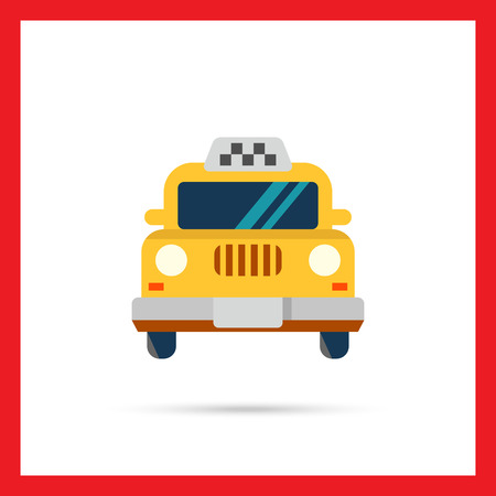 car front view: Icon of taxi car, front view Illustration