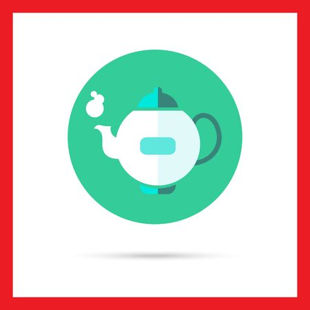 five o'clock: Icon of steaming teapot