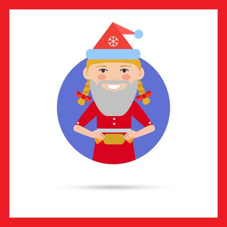 fake: Female character, portrait of smiling teenage girl wearing Santa hat and fake beard, holding cracker Illustration