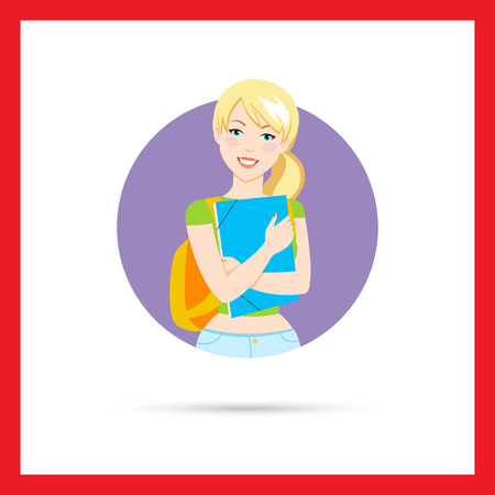 t short: Female character, portrait of smiling teenage girl with backpack, holding paper folder