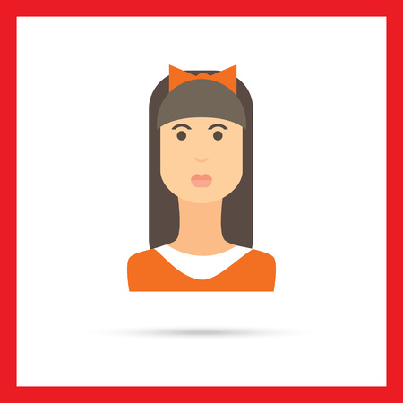 long straight hair: Female character icon, portrait of teenage girl with long hair, fringe and bow on head Illustration