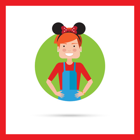 Female character, portrait of teenage girl wearing headband with Mickey Mouse ears Stock Vector - 53821482