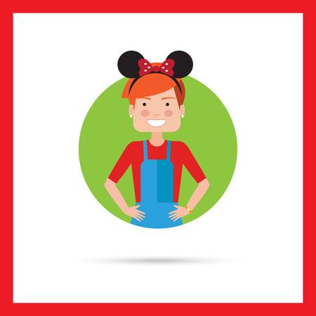 mickey: Female character, portrait of teenage girl wearing headband with Mickey Mouse ears
