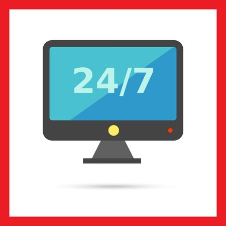 twenty four hour: Multicolored vector icon of led TV set with twenty four hour service emblem on screen, isolated on white