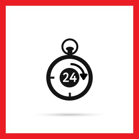 twenty four hour: Vector icon of stopwatch with number twenty-four and arrow inside Illustration