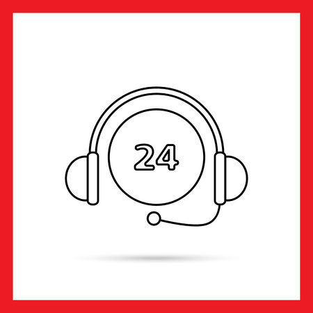 twenty four hours: Icon of 24-hour sing with headset