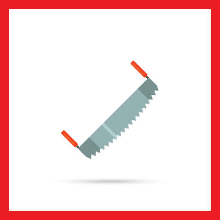 crosscut: Multicolored vector icon oftwo-man saw Illustration