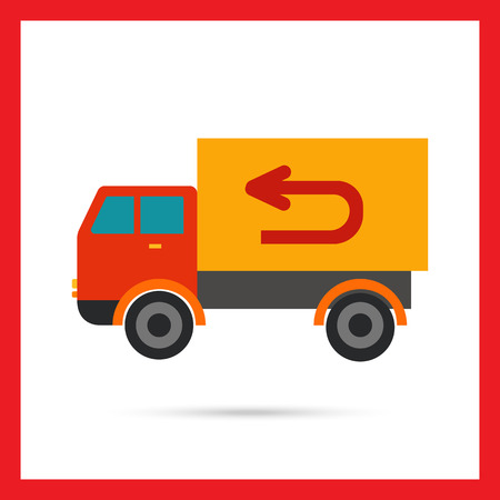 delivering: Multicolored vector icon of truck delivering goods, isolated on white