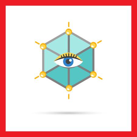 human eye: Icon of human eye in hexagon