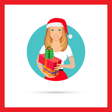t short: Female character, portrait of smiling woman wearing Santa hat and holding gift boxes Illustration