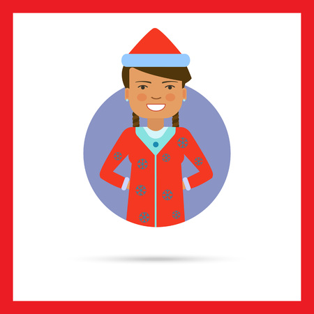 santa costume: Female character, portrait of smiling woman wearing red Santa costume Illustration