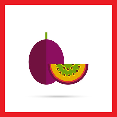 passion  ecology: Multicolored vector icon of whole passionfruit and cut piece