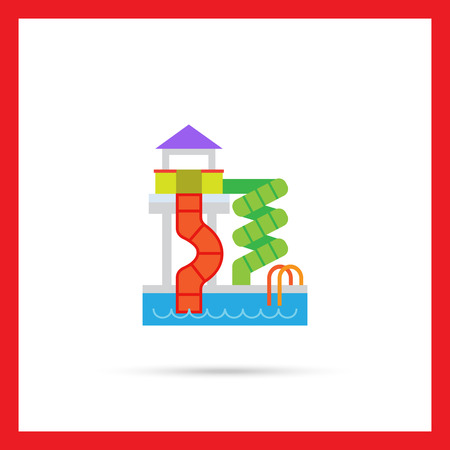 colorful slide: Vector icon of waterpark with pool and slides