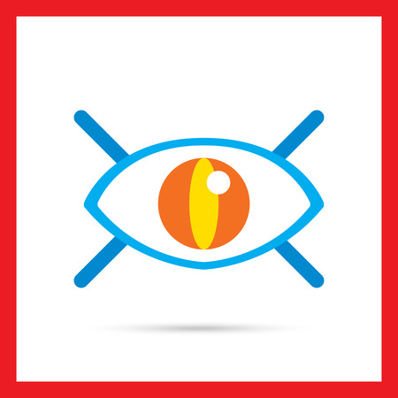 open eye: Icon of open human eye with lashes Stock Photo