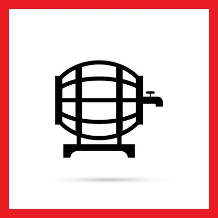 wine barrel: Vector icon of wine barrel with tap Illustration