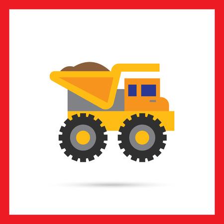 dump body: Multicolored vector icon of yellow loaded dump truck