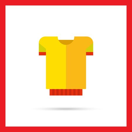 t shirt model: Multicolored vector icon of yellow t-shirt with red band Illustration