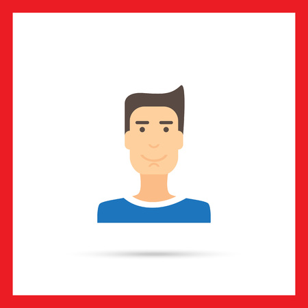 t shirt blue: Male character icon, portrait of smiling young man