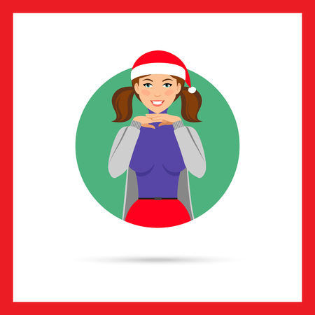 CHIN: Female character, portrait of smiling woman wearing Santa hat, holding hands under her chin