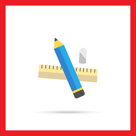 draftsman: Icon of pencil, eraser, ruler Illustration
