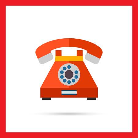 telefono antico: Icona vettore multicolore del telefono retr� con disco di composizione