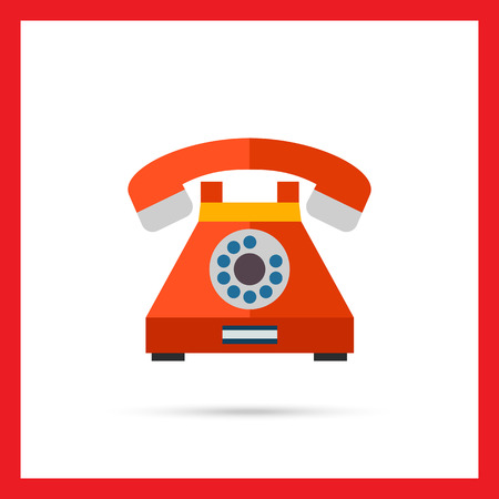 vintage telephone: Multicolored vector icon of retro telephone with dialing disk