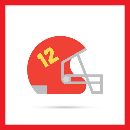 Icon of red rugby helmet with grid and number twelve