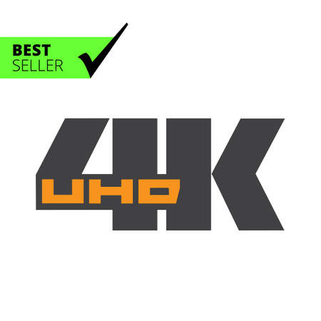 inch: Vector icon of 4K UHD badge, isolated on white