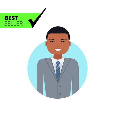 african business man: Male character, portrait of smiling African American man in business suit Illustration