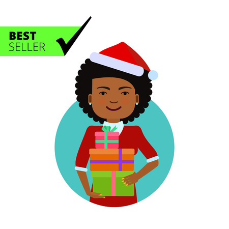 african american woman: Female character, portrait of smiling African American woman wearing Santa costume, holding gift boxes Illustration