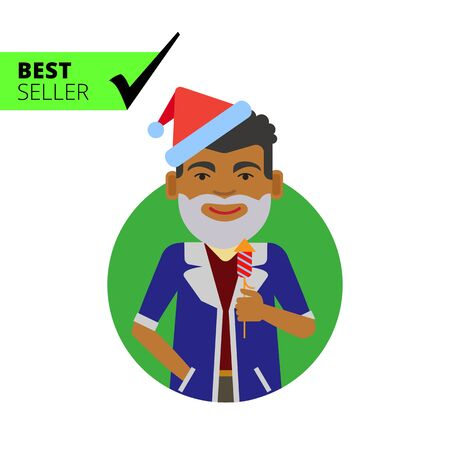 middle aged man: Male character, portrait of African American man wearing Santa costume, holding firecracker