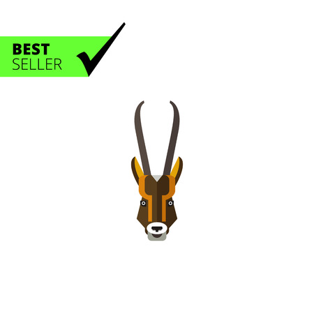 hunted: Multicolored vector icon of antelope head with long horns
