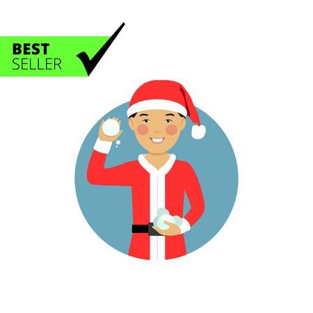 snowballs: Male character, portrait of smiling Asian teenage boy wearing Santa costume, holding snowballs Vettoriali