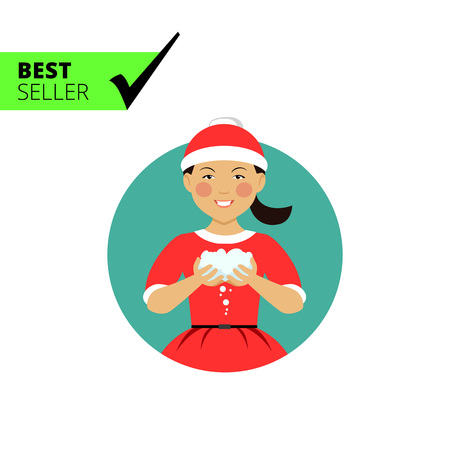 palle di neve: Female character, portrait of smiling Asian teenage boy wearing Santa costume, holding snowballs