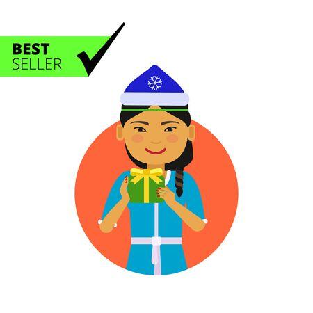 santa costume: Female character, portrait of Asian woman wearing Santa costume and holding gift box Illustration