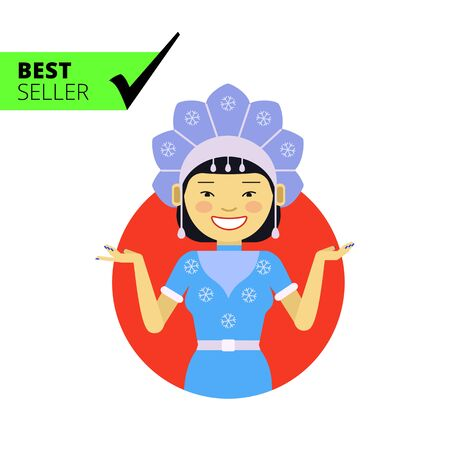 fancy dress: Female character, portrait of smiling Asian woman wearing fancy dress