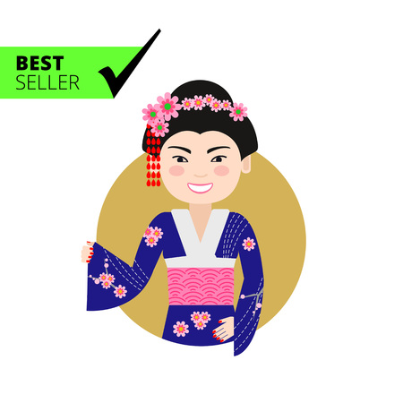 hairdos: Female character, portrait of smiling Asian woman wearing traditional costume