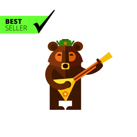 russian hat: Multicolored vector icon of Russian bear wearing warm hat and playing balalaika Illustration