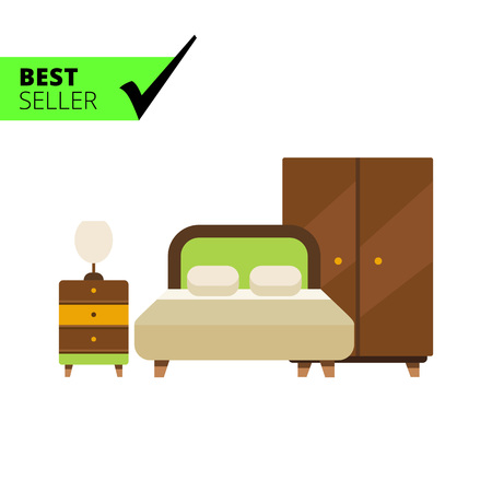 double bed: Icon of bedroom interior including double bed, wardrobe and bed cabinet with lamp