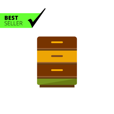drawers: Multicolored vector icon of bedside table with three drawers