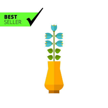 blooming: Multicolored vector icon of blue blooming flower in vase