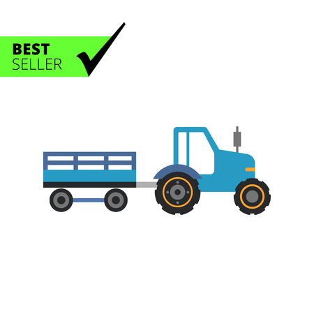 mover: Multicolored vector icon of blue tractor with trailer Illustration