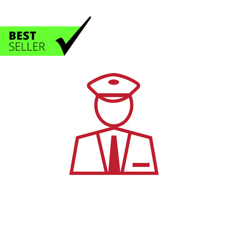 Icon of man silhouette of border control service officer Vector Illustration