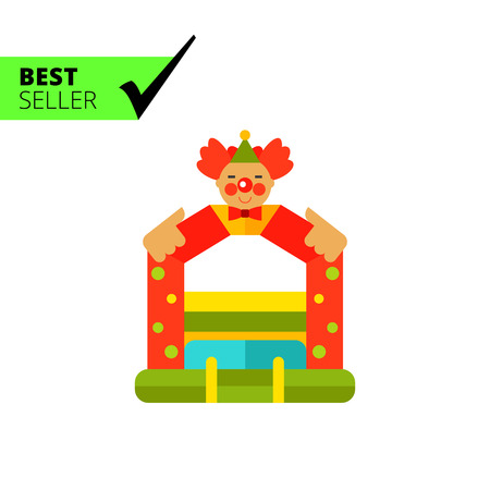 circus sign: Multicolored vector icon of bouncy castle with clown face on top
