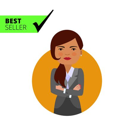 blank expression: Female character, portrait of businesswoman with her hands crossed on chest Illustration