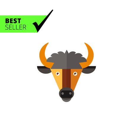 ox eye: Multicolored vector icon of brown bull head with horns